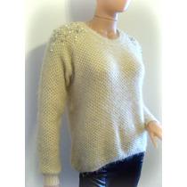 Sweater Mujer Peludo Con Bordado De Perlas- Ideal Calzas
