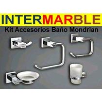 Set Accesorios Baño Mondrian 5 Piezas Metalicas Cromadas