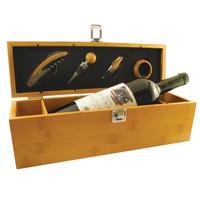Set De Vino Porta Botella En Caja De Madera De Bamboo Con 4p
