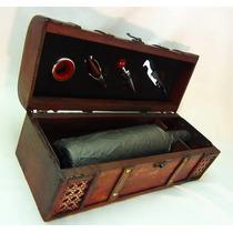 Caja Madera Estilo Rústico Para Vino Con Set De 4 Accesorios