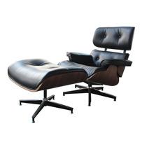 Sillón Eames Lounge Con Otomana Ecocuero Color Negro