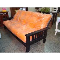 Sillon Futon Sofa Cama De Pino Con Colchon En Eco Cuero