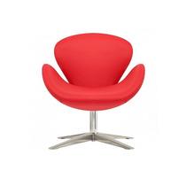 Sillón Swan Tapizado En Ecocuero Color Rojo. Promo