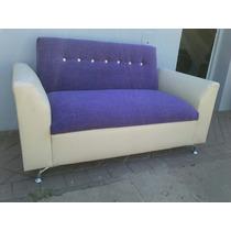 Sillon ,sofa Doble Moderno, Pata Cromada Rosario Ecocuero,