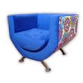 Sofa Sillon Living 1 Cuerpo Chenille Ecocuero Patas Aluminio