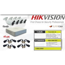 Kit 4 Cámaras De Seguridad Dvr 4ch Hikvision Dlux