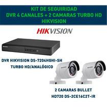 Kit Cctv Hikvision Dvr 4 Canales + 2 Cámaras Turbo Hd Gtía!!