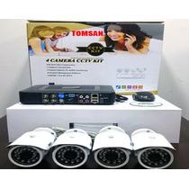 Kit Dvr Ahd De 4 Canales 4 Camaras Hd Cables P2p Fuentes