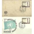 Sobre Y Tarjeta Postal 1959 Nuevos. Derechos Del Hombre