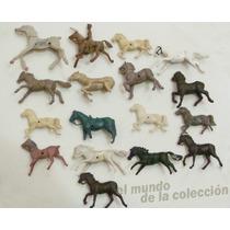 Lote Caballos X17 De Soldaditos Y Cowboys Plasticos 70-80