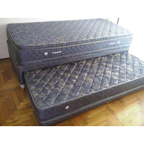 Colchon Y Sommier 1 1/2 Dual C/carrocama Full + Doblepillow