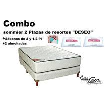 Sommier De Resortes Combo + 2 Almohadas + 1 Sábanas 2 1/2 Pl