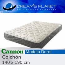Colchon Cannon Doral 140x190 Resortes Tela Jackard