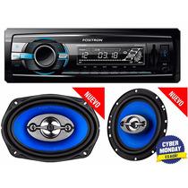 Set Car Audio Positron Stereo Usb Mp3 + 4 Parlantes 6 + 6x9