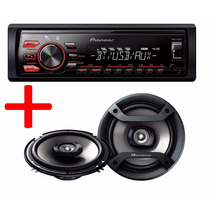 Combo Stereo Pioneer Mvh 285 Bt Usb + Parlante Pioneer 6´