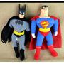 Muñecos De Superman Y Batman Felpa Y Cara De Goma