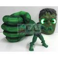 Hulk X3 : Puño Guante + Máscara Led + Muñeco Luz Vengadores