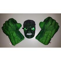 2 Puños Gigantes Increible Hulk + Máscara Con Luz Avengers