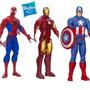 Hombre Araña + Capitan + Ironman 30cm Original Hasbro X3 Uni