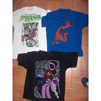 Lote 3 Remeras Spiderman Hombre Araña Marvel 2 T. M Y 1 T. S