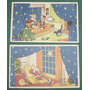Dos Antiguas Tarjetas Ilustradas Navidad Papa Noel Fiestas