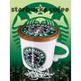 Vaso Taza Starbucks Ceramica Con Tapa/posavasos Madera