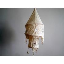 Lámpara Colgante De Tela Hindú De 2 Pisos Natural. India