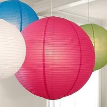 Lampara De Papel De Arroz China V/ Colores Pack X4 Oferta !