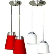 Plafon 2 Colgantes Aluminio Para Bajo Consumo Regulables !!!