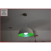 Lampara Colgante 1 Luz Semi Esfera Perfecta Blanca Con Verde