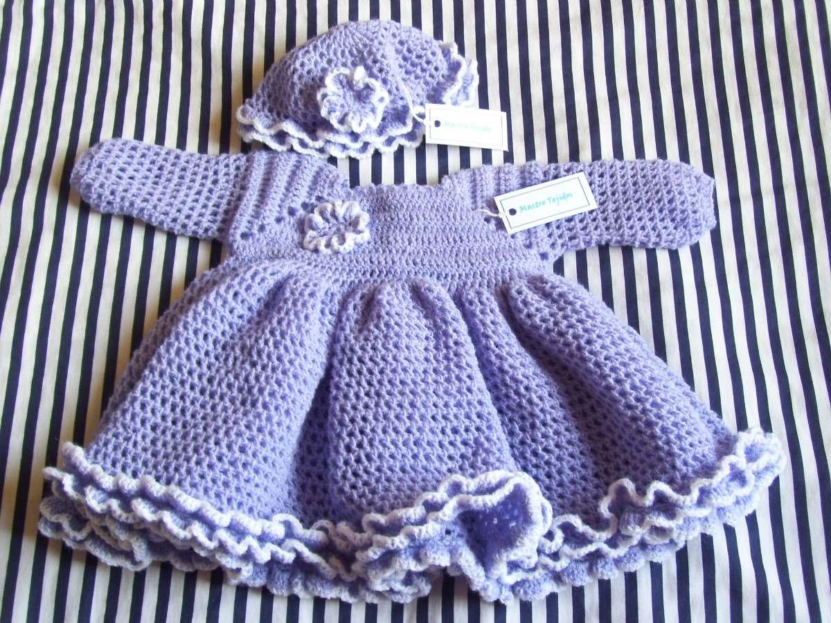 Tejidos Artesanales A Crochet: Vestido Para Beba Con Gorro ...