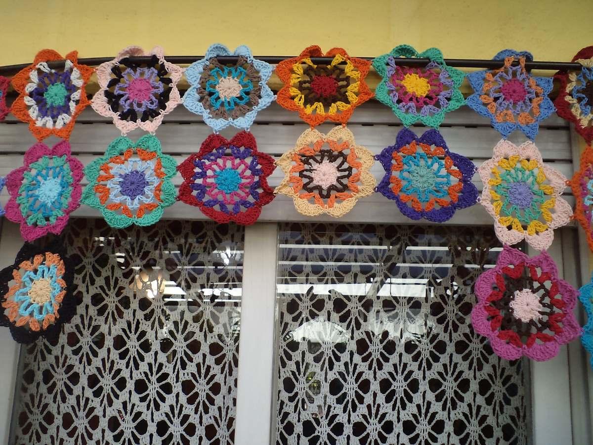Cortinas al crochet con flores imagui - Tejidos de cortinas ...