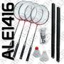 Set De Badminton Completo Raquetas + Plumas + Red + Soporte