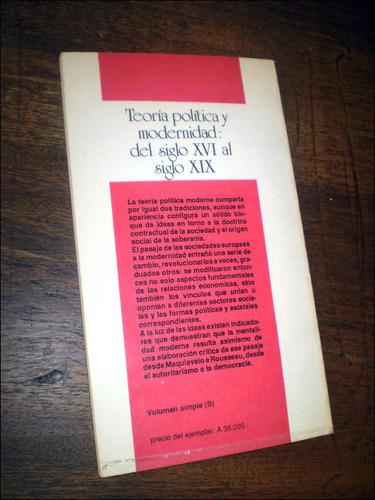 Teoria Politica Y Modernidad: Del Siglo Xvi Al Xix _ Ceal