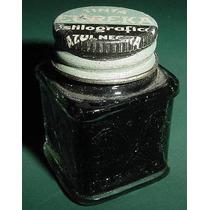 Antiguo Frasco Tinta Estilografica Eureka Labrado Negro