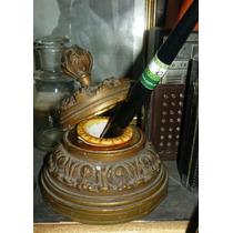 Antiguo Y Lujoso Tintero En Bronce Macizo 8cm Aprox (----)