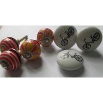 Lote De 7 Tiradores En Ceramica De 2da Selección Manijas