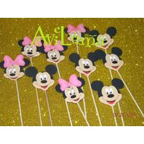 Palitos De Brochette De Mickey Y Minnie, Precio Por 10u.