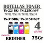 Pote Toner Brother Tn 315/310/225/221135/130 / 4 Color 75g