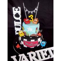 Torta De Cumpleaños, Cars, Rayo Mcqueen, Mate, Sally, Disney