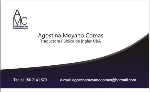 Traductora Pública Inglés - Matriculada Ctpcba