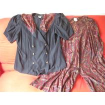 Traje Importado Talle Especial , Camisa Y Pantalon Pollera