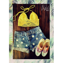 Crop Top Tejido Crochet Malla Bikini Colores