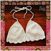 Bikini Tejida Crop Top Al Crochet Malla Traje De Baño