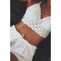 Bikini Crop Top Tejida Al Crochet