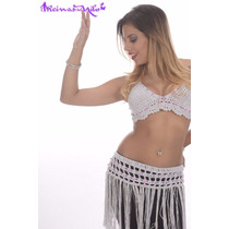 Top Y Caderín Tejido Crochet Danza Arabe Belly Dance Playa