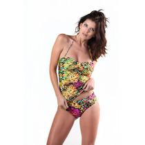 Tankini Bandeau Con Taza Soft Y Bikini Con Cintura