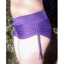 Short Bikini Lycra Pura Todo Forrado C/ Cintura Y Fruncidora
