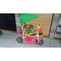Triciclo A Pedal Infantil Con Toldo Y Barral Bipo Trn05tc