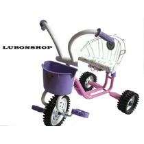 Triciclo Infantil Para Nena Color Rosa Con Canasto. Unico!!